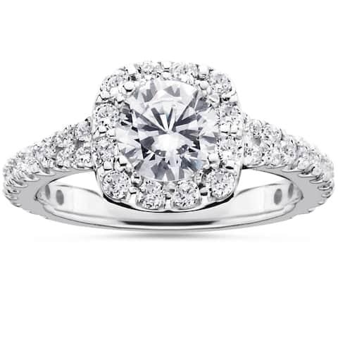 14k White Gold 1 1/2ct TDW Cushion Halo Diamond Engagement Ring - White H-I - White H-I