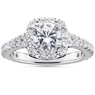 14k White Gold 1 1/2ct TDW Cushion Halo Diamond Engagement Ring (I-J, I2-I3)