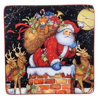 Certified International Multi-color Ceramic 12.5-inch 'The Night Before Christmas' Square Platter