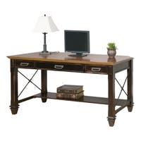 Hatherford Black and Brown Wood Writing Desk