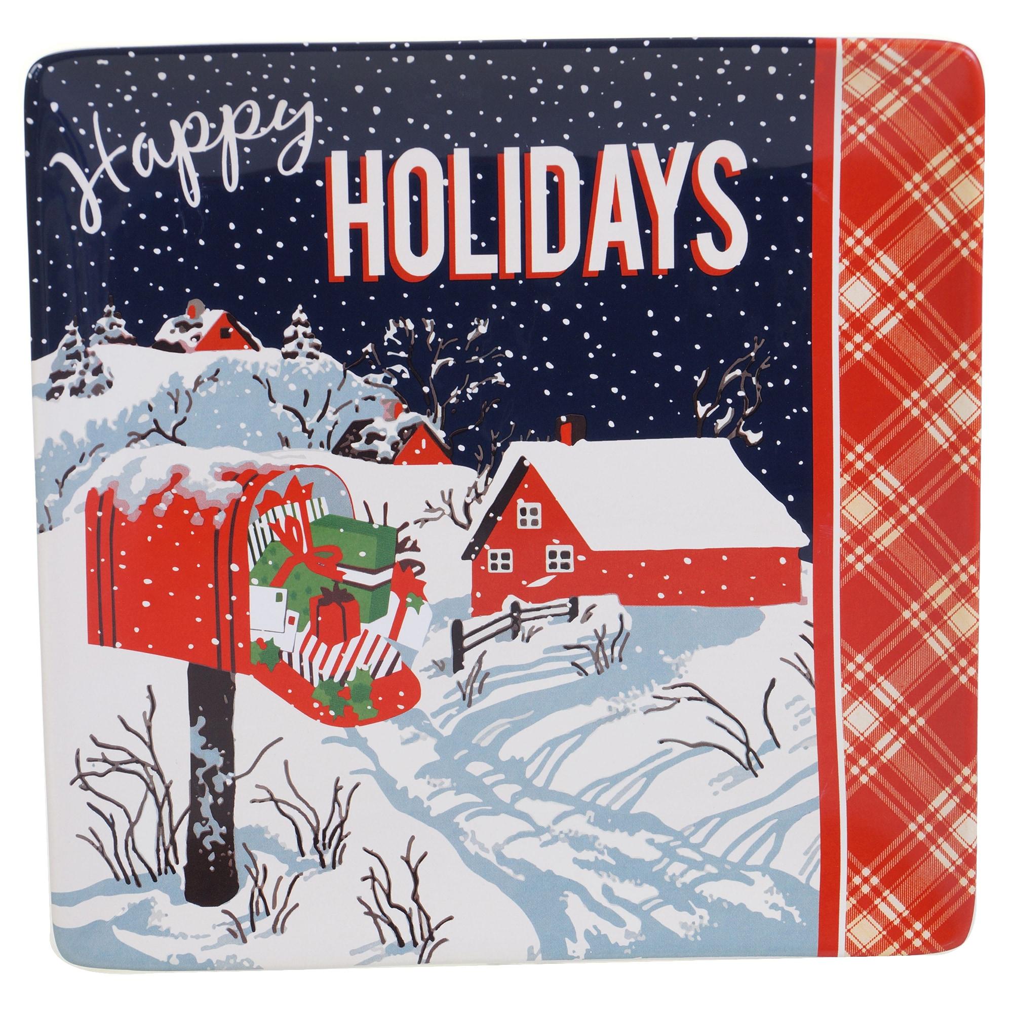 Certified Intl Retro Christmas Ceramic 12.5-inch Square P...