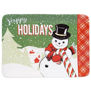 Certified International Ceramic Retro Christmas 16-inch x 12-inch Rectangular Platter