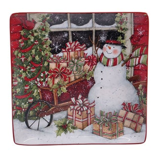 Certified International 31331 Multi-color Ceramic 12-inch Snowman's Sleigh Square Platter