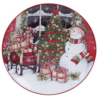 Certified International 31332 Multicolored Ceramic 13-inch Snowman's Sleigh Round Platter