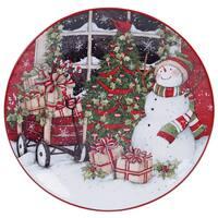 Certified International 31332 Multicolored Ceramic 13-inch Snowman's Sleigh Round Platter