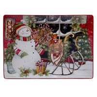 Certified International Snowman's Sleigh Rectangular Platter