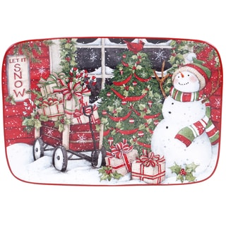Certified International Snowman's Sleigh Rectangular Platter