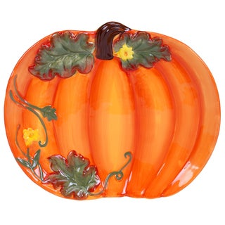 Certified International Botanical Harvest 3D Pumpkin Platter