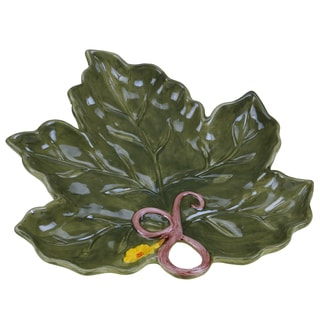 Certified International Botanical Harvest 3D Leaf Platter