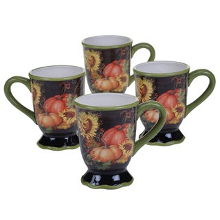 Certified International Botanical Harvest 18-ounce Mugs (Set of 4)