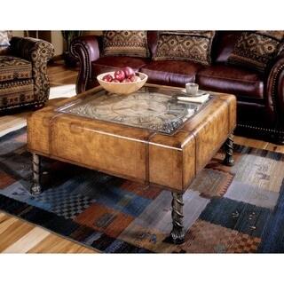 Butler Vasco Old World Map Clock Cocktail Table