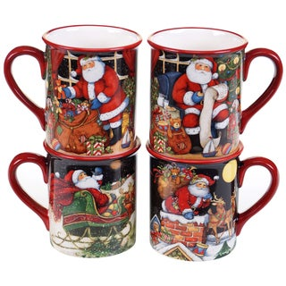 Certified International The Night Before Christmas 16-ounce Mugs with Assorted Designs (Pack of 4)