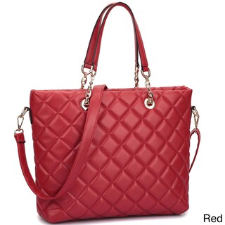 Dasein Faux Leather Quilted Tote Bag with Chained Handles