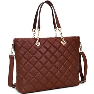 Dasein Faux Leather Quilted Tote Bag with Chained Handles|https://ak1.ostkcdn.com/images/products/12073605/P18940763.jpg?impolicy=medium