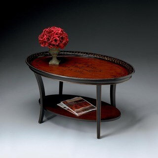 Butler Hamlet Traditional Red and Black Painted Oval Cocktail Table