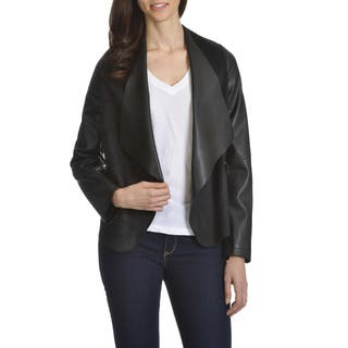 Ashley Women's Junior Plus Size Open Flyaway Faux Suede and Leather Jacket|https://ak1.ostkcdn.com/images/products/12073732/P18940862.jpg?impolicy=medium