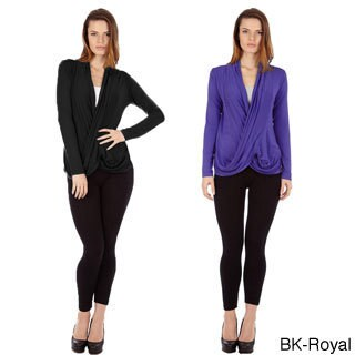 Dinamit Women's Multicolored Rayon/Spandex Crisscross Drape-front Pullover Tops (Set of 2) (More options available)