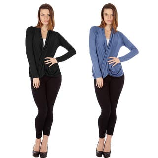 Dinamit Women's Multicolored Rayon/Spandex Crisscross Drape-front Pullover Tops (Set of 2)|https://ak1.ostkcdn.com/images/products/12073735/P18940863.jpg?impolicy=medium