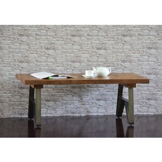 Cayu Live Edge Brown Acacia Wood and Iron Coffee Table