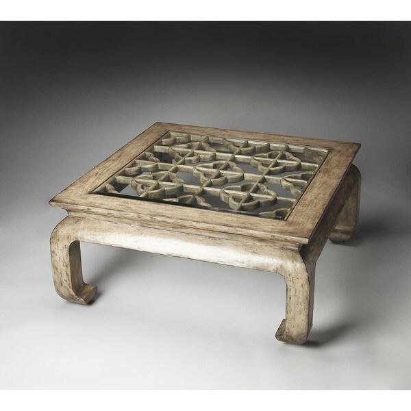 Shop Handmade Butler Mandarin Grey WoodGlass Chow Leg - Chow coffee table