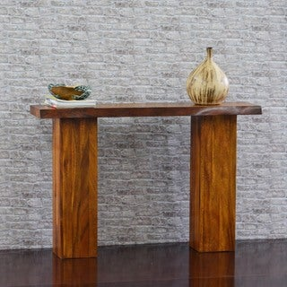 222 Fifth Torii Live Edge Natural Brown Acacia Console Table