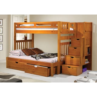 Donco Kids Honey-colored Pine Wood Tall Twin-over-full Bunk Bed with Storage Drawers