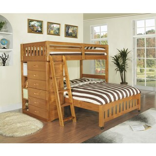 Brown Pine, Wood Loft Bed Twin Over Full Bunkbed with 6-drawer Chest