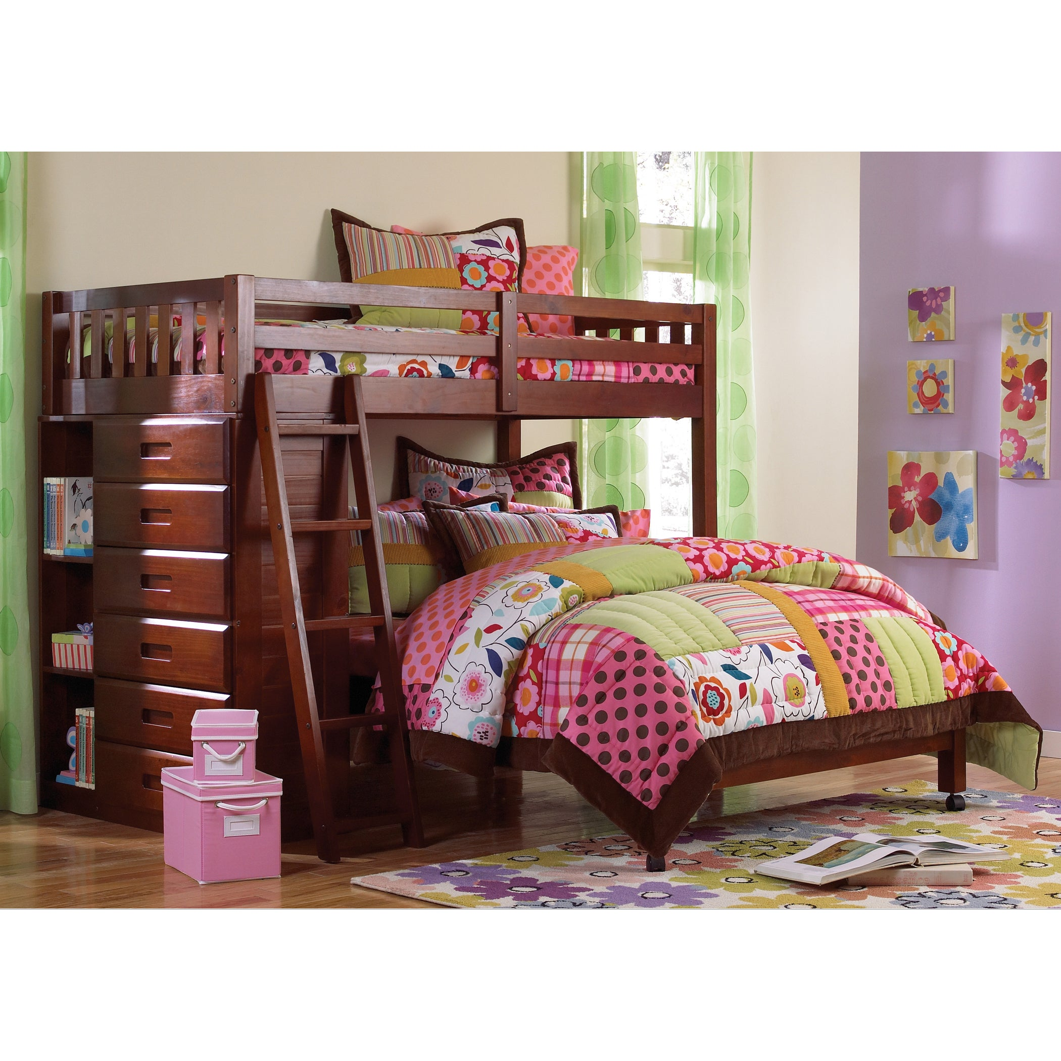 American Loft Bed Twin Over Full with Six-drawer Chest pl...