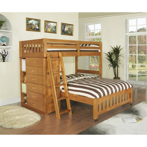 Honey-stained Pinewood Twin-over-full Loft Bed With Six-drawer Chest, Matching Desk Hutch, and Chair