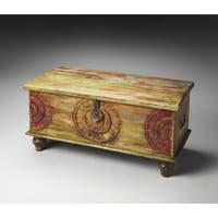 Butler Mesa Beige and Brown Antique-Finished Carved Wood Trunk Cocktail Table