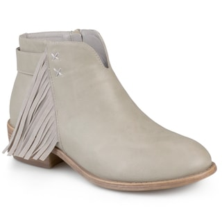 Journee Collection Women's 'Ansel' Faux Leather Fringe Ankle Boots