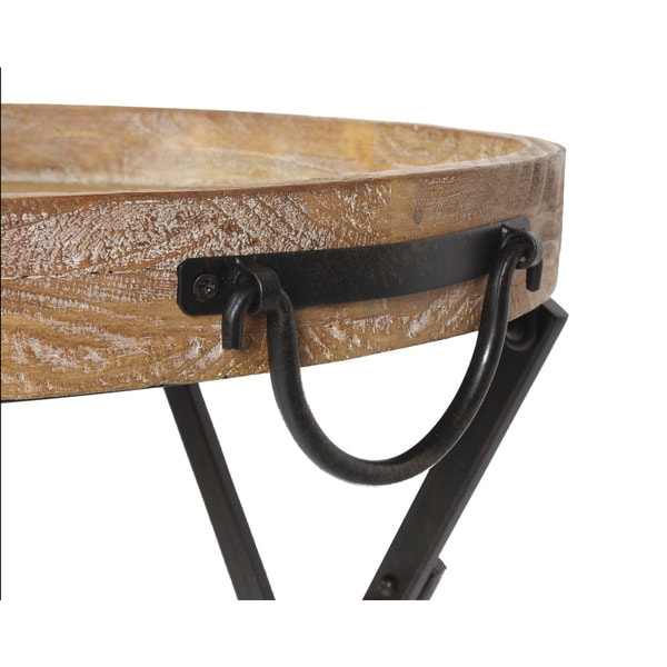 Metal Foldable Black Metal And Rustic Wood Round Tray Table   Free Shipping  Today   Overstock.com   18940973