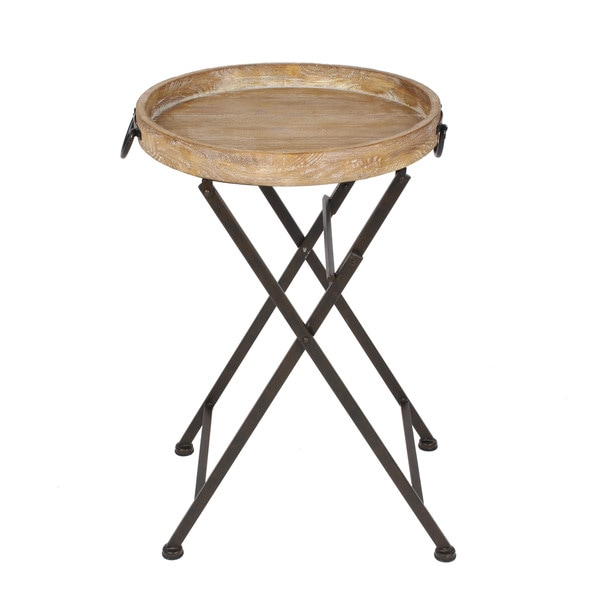 Coffee Table Tray Home Goods: Metal Foldable Black Metal And Rustic Wood Round Tray