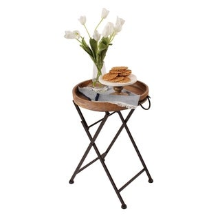 Metal Foldable Black Metal and Rustic Wood Round Tray Table