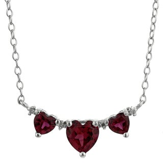 Sterling Silver Birthstone Three Hearts Pendant Necklace