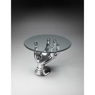 Butler Nickel Metal/Glass Modern Cocktail Table