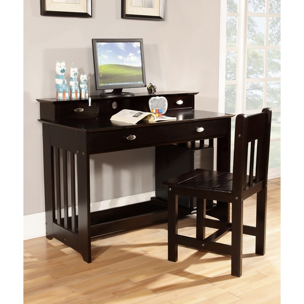 Espresso Solid Pine Student Desk with Hutch and Sturdy Chair