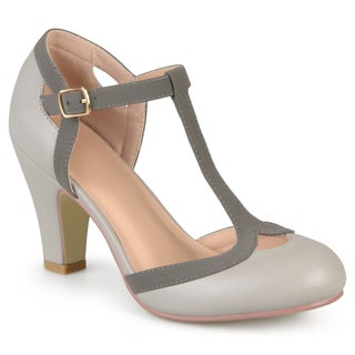 Journee Collection Women's Olina T-Strap Round Toe Mary Jane Pumps (More options available)