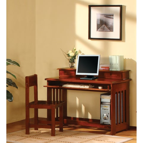 Merlot Finished Solid Pine Student Desk with Hutch and Sturdy Chair