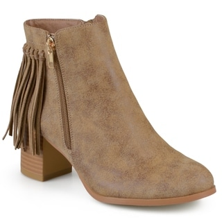 Journee Collection Women's 'Viv' Faux Leather Fringe Boots