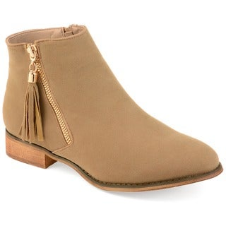 Journee Collection Women's 'Trista' Faux Suede Side Zip Ankle Boots