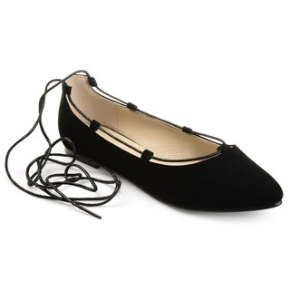 Journee Collection Women's 'Fiona' Lace-up Pointed Toe Ballet Flats