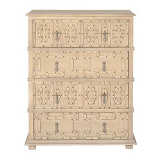 Alex Cream and Beige Wood 5-Drawer Storage High Chest with Nail Head Detail