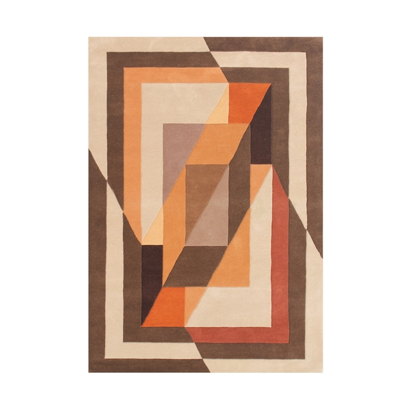 Alliyah Tobacco Brown Wool Overlapping Abstract Frame Rug