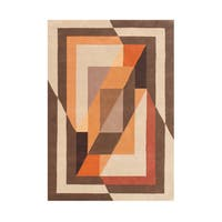 Alliyah Tobacco Brown Wool Overlapping Abstract Frame Rug - 8' x 10'