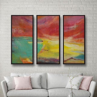 Lou Gibbs's 'Between Land and Sea' 3 Piece Floater Framed Canvas Set