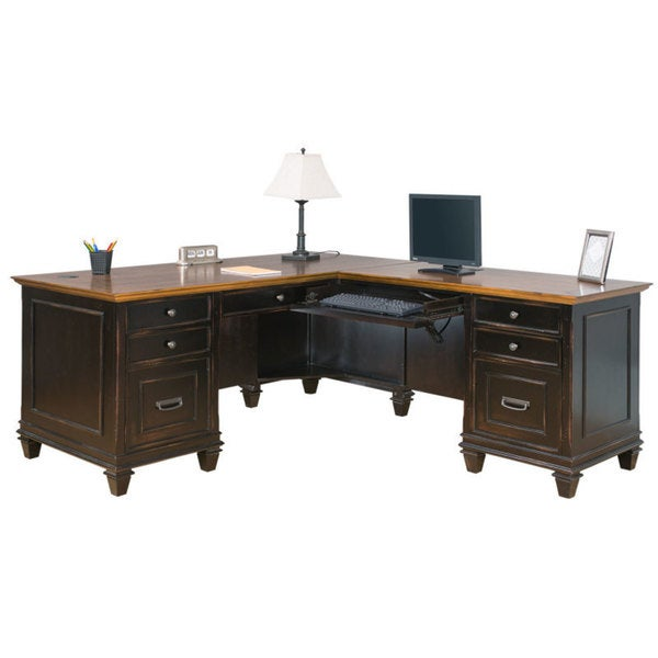 Hatherford Brown Wood L Shaped Desk