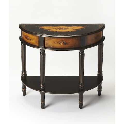 Handmade Butler Mozart Black Hand-painted Demilune Console Table