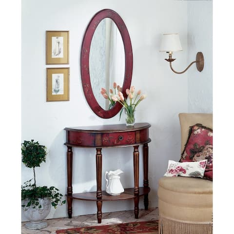 Butler Mozart Red Handmade Demilune Console Table