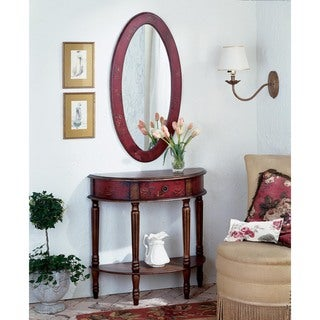 Butler Mozart Red Hand-painted Demilune Console Table